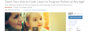 "Join over 1,100 students and growing in ""Teach Your Kids to Code"" on Udemy!"