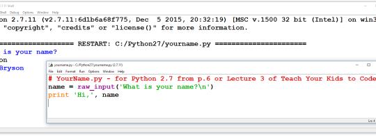 Python 2.7 code sample